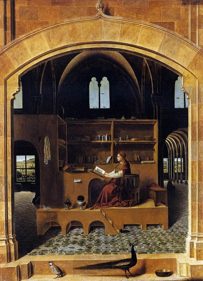 Saint Jérôme dans son cabinet de travail, Da Messina, 1474 dans histoire de l'art t02-Messine